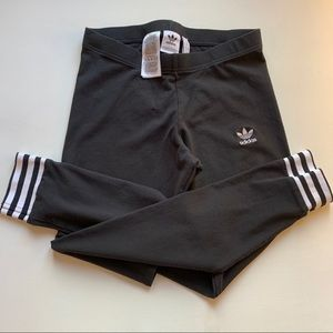 Adidas Black Leggings White Stripes Cuffs Sz S